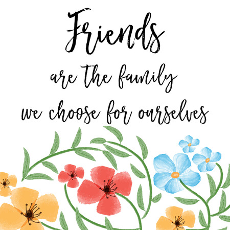 beautiful friendship quote with floral watercolor background, vector format Ilustracje wektorowe