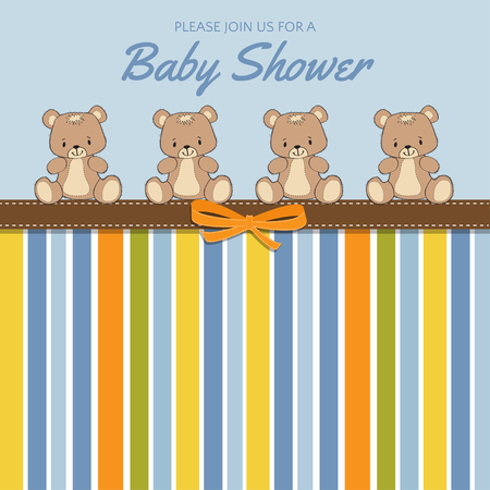 Delicate baby shower card with teddy bears, vector format Illustration