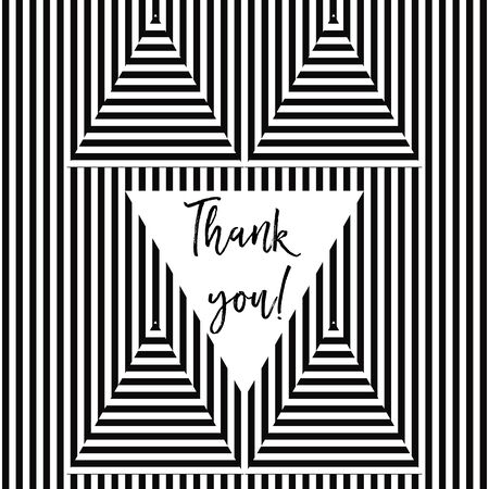 grateful: Thank you card with stripes in vector format Illustration