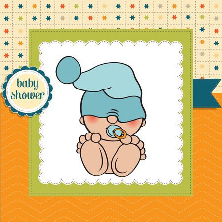 baby boy shower card with funny little baby, vector illustration