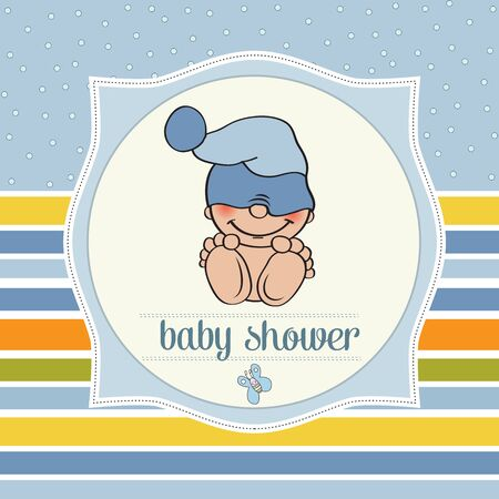 headpiece: baby boy shower card with funny little baby, vector illustration
