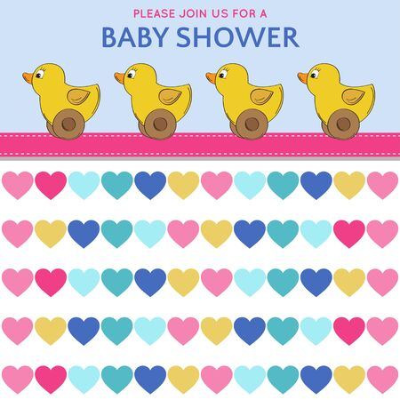invite congratulate: Delicate baby shower card with duck toys, vector format