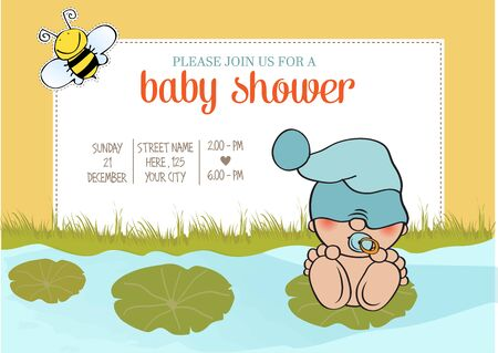 special moments: baby boy shower card with funny little baby, vector illustration