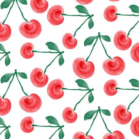 cherries isolated: watercolor cherries background, vector format