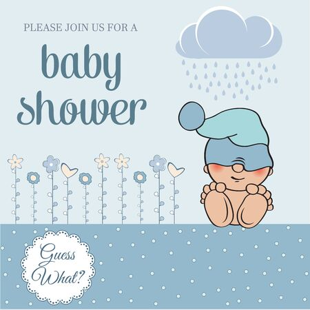 Tarjeta de la ducha del bebé con el bebé, ilustración vectorial poco gracioso