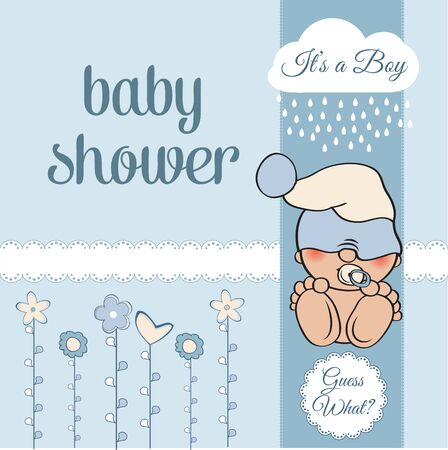 hid: baby boy shower card with funny little baby, vector illustration
