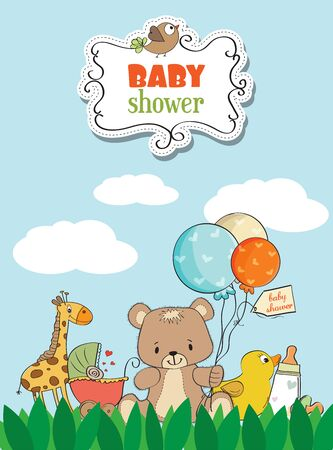plat: Beautiful baby shower card with toys