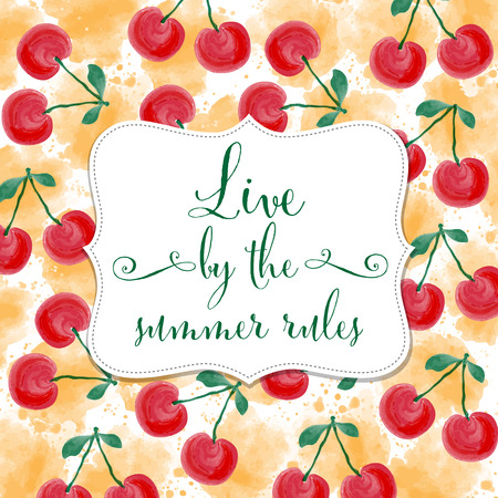 cherries isolated: Fresh watercolor summer background  with cherries, vector format