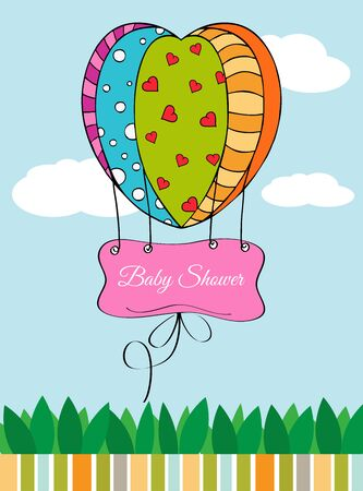 Beautiful baby shower card with hot air balloon Illustration