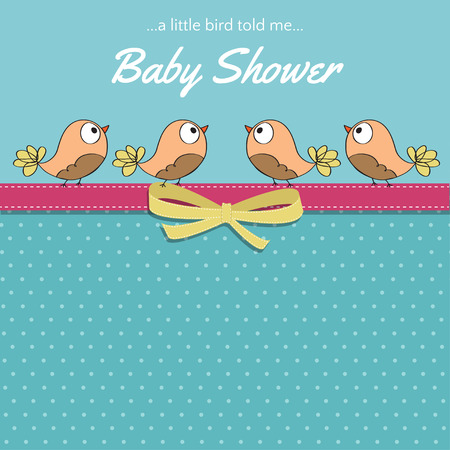 Delicate baby shower card with little birds, vector format Illustration