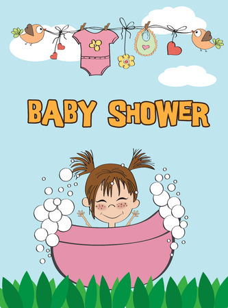 baby girl: Beautiful baby girl shower card with little baby Illustration