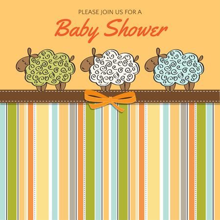 invite congratulate: Delicate baby shower card with sheep, vector format