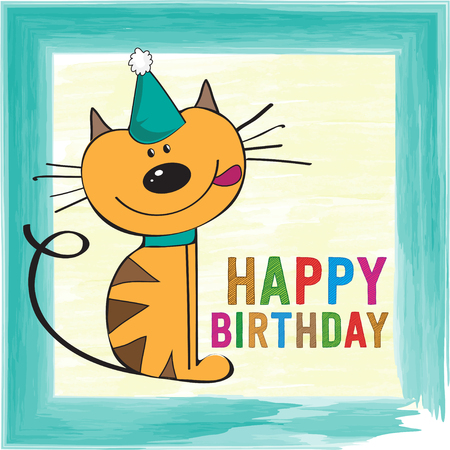 childish: childish birthday card with funny little cat
