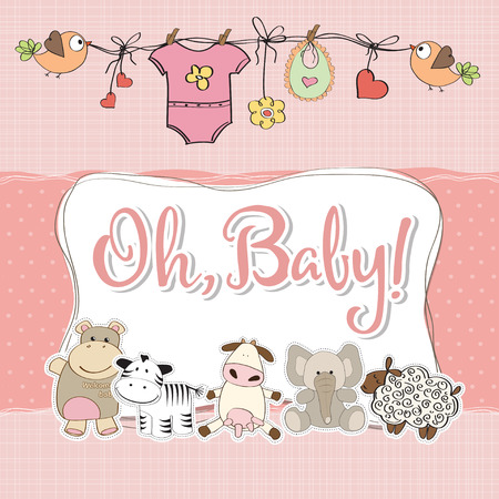 playfulness: baby girl shower card with animals Illustration