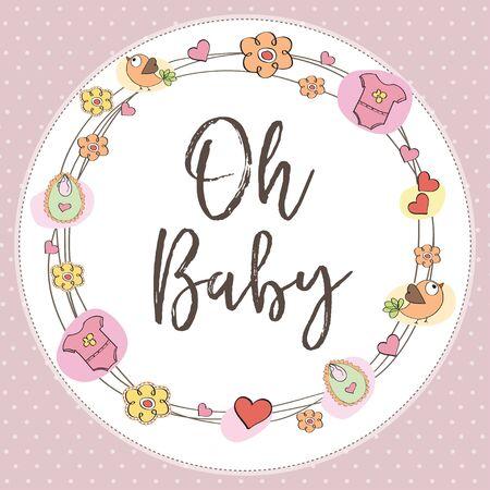 baby girl shower card. illustration