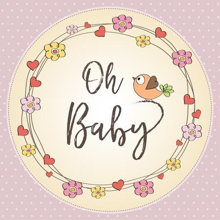 baby girl shower card. illustration Ilustração Vetorial