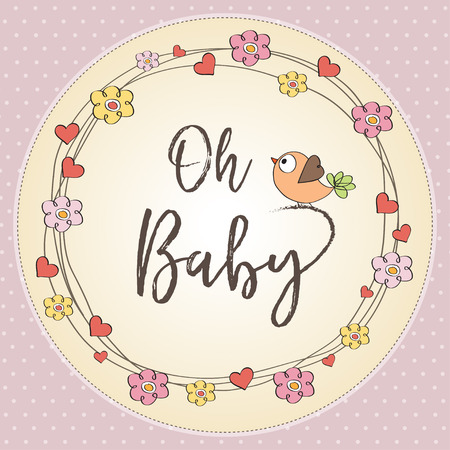 baby girl shower card. illustration Illustration