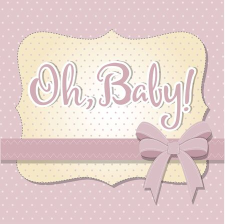 delicate baby shower card, illustration Illustration