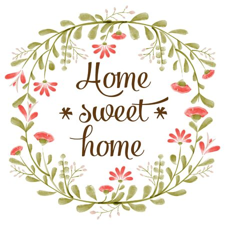 sweet background: Home sweet home background with delicate watercolor flowers Illustration