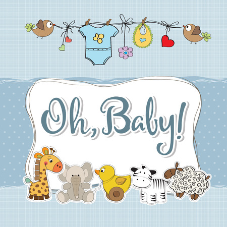 special moments: baby boy shower card with animals