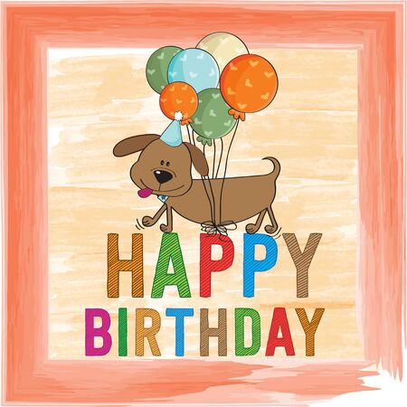childish: childish birthday card with funny dog