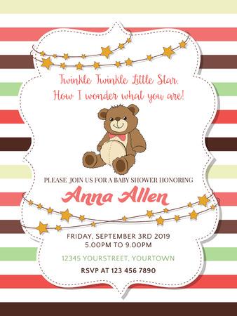 baby bear: Lovely baby shower card with teddy bear