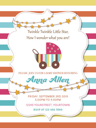Lovely baby shower card with stroller Illustration