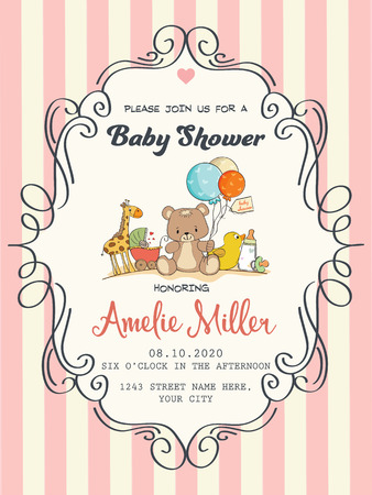 baby girl: delicate baby girl shower card