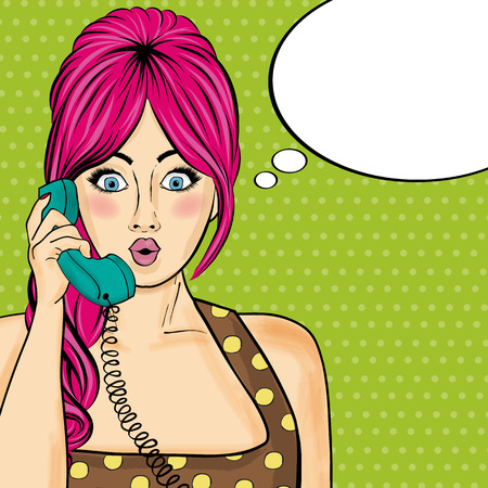 Pop art  woman chatting on retro phone  . Comic woman with speech bubble.