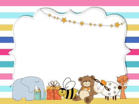 Pretty frame on color lines , template for baby shower or birthday card Ilustração Vetorial