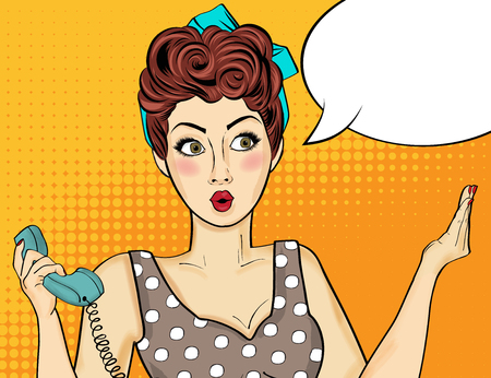 in amazement: Pop art  woman . Comic woman with speech bubble. Vector illustration.