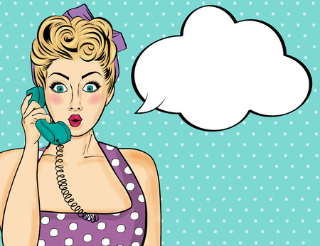 Pop art  woman chatting on retro phone  . Comic woman with speech bubble. Vector illustration. Çizim