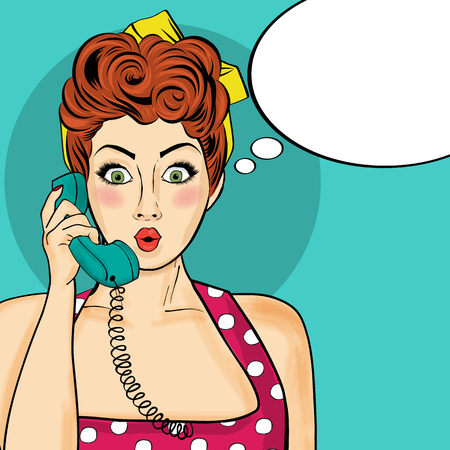 Pop art  woman chatting on retro phone  . Comic woman with speech bubble. Vector illustration. Ilustração