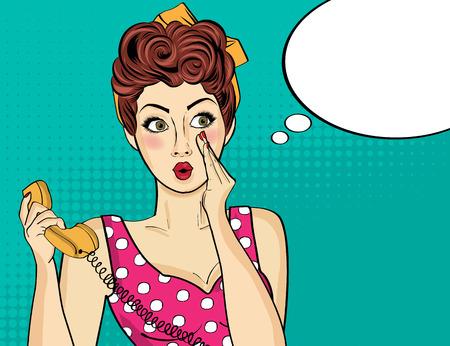 sorprendido: la mujer del arte pop retro sorprendido con el teléfono, que le dice a sus secretos. Pin-para arriba. Ilustración del vector.