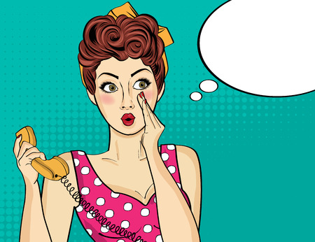 Surprised  pop art woman with retro phone, who tells her secrets. Pin-up girl. Vector illustration.