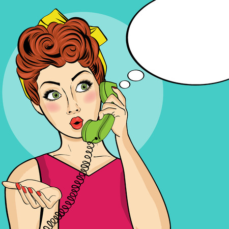 Surprised  pop art woman with retro phone. Pin-up girl. Vector illustration.