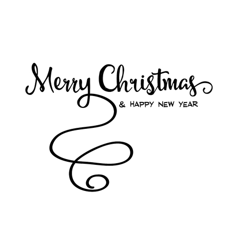 retro christmas: Merry Christmas retro calligraphy, isolated on white background