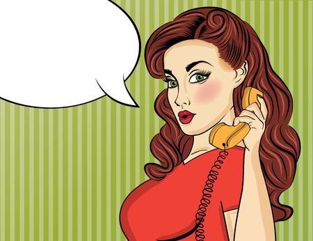 복고풍 전화 팝 아트 여자입니다. 금발 소녀입니다. 여자 핀. 벡터 형식