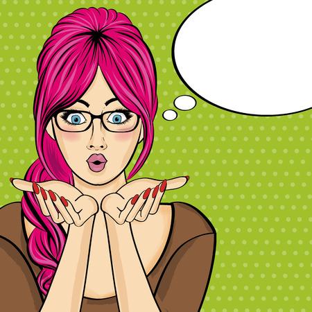 Berrascht Pop-Art-Frau. Comic Frau mit Sprechblase. Pin-up-Mädchen. Vektor-Illustration Standard-Bild - 67677436