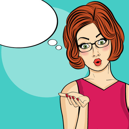 Surprised pop art  woman . Comic woman with speech bubble. Pin up girl. Vector illustration Illustration