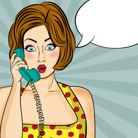 flirting: Surprised pop art  woman chatting on retro phone . Comic woman with speech bubble. Pin up girl. Vector illustration.