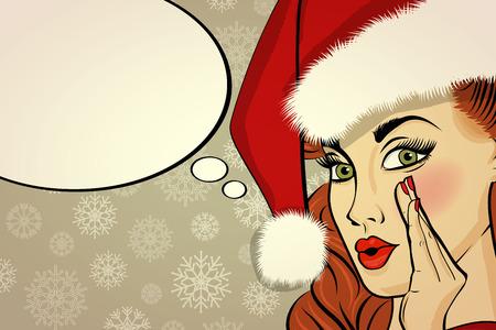 customizable: Customizable beautiful retro Christmas card with sexy pin up Santa girl. Vector illustration