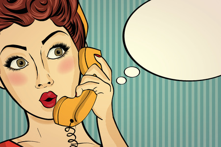 secretary: Surprised pop art woman chatting on retro phone . Comic woman with speech bubble. Pin up girl. Vector illustration.