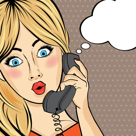 secretary: Surprised pop art  woman chating on retro phone . Comic woman with speech bubble. Pin up girl. Vector illustration Illustration