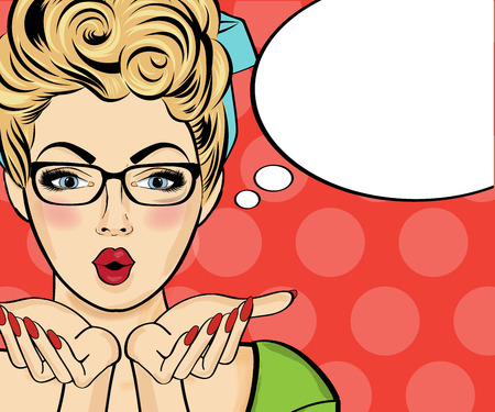 Surprised pop art woman . Comic woman with speech bubble. Pin up girl. Vector illustration