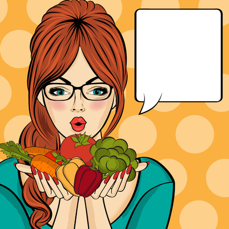 Surprised pop art  woman that holds vegetables  in her hands . Comic woman with speech bubble and healthy food. Vector image.