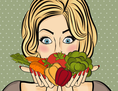Mujer sorprendida del arte pop que mantiene las verduras en sus manos. Mujer cómica con bocadillo y comida sana. Imagen del vector.