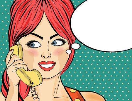 Pop art woman chatting on retro phone . Comic woman with speech bubble. Pin up girl. Vector illustration.