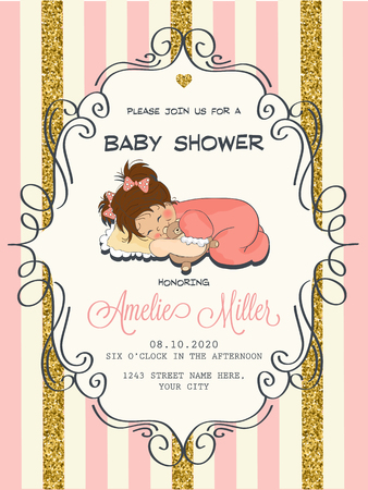 people sleeping: Beautiful baby shower card template with golden glittering details, vector format