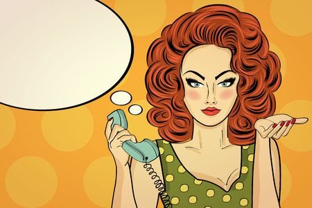 Sexy pop art woman  talking on a retro phone. Pin up girl. Vector illustration